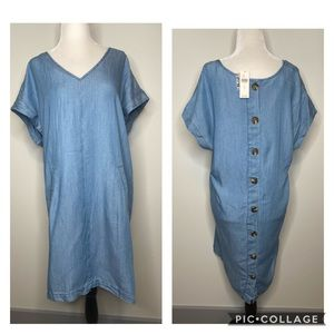 NWT Anthropologie Porridge Denim T-shirt Dress